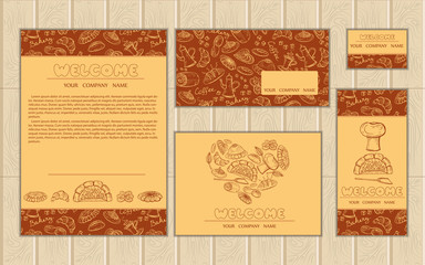 Vector set of cards on the bakery theme