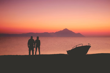 Couple on the sunset