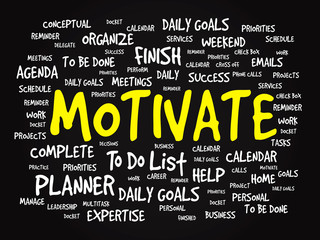Word cloud of MOTIVATE related items, vector presentation