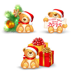 Set of Christmas icons with a cute teddy bear