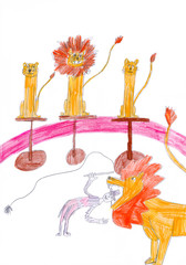 Tamer putting head in trained lions chap in circus. Kid's drawin