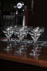 martini glasses on the bar