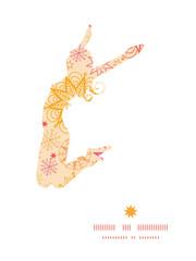 Vector warm stars jumping girl silhouette pattern frame