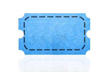 Blue ticket isolated on white background.