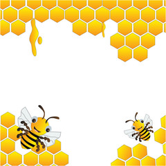 Bees and beehive frame
