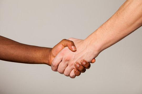 shaking hand white and black