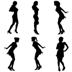 Vector silhouette women.