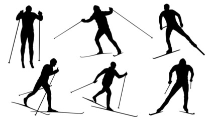 cross country ski silhouettes