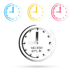 Vector sketch style of clock icons.