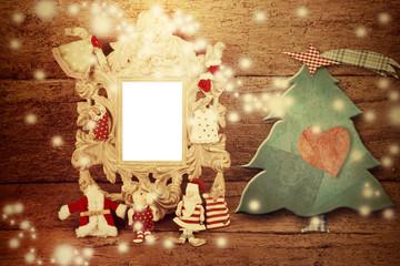 Christmas photo vintage photo frame card