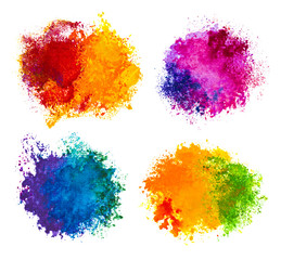 Hand drawn paint splashes isolated on white