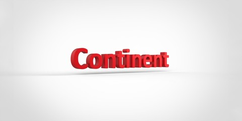 3D red Continent Word Text on white background