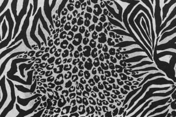 texture of print fabric striped leopard and zebra