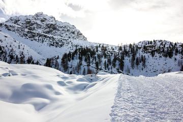 Wall Mural - Panorama di montagna con pista da sci