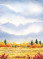 """Watercolor landscape of series of """"Steppe in different seasons"""""""