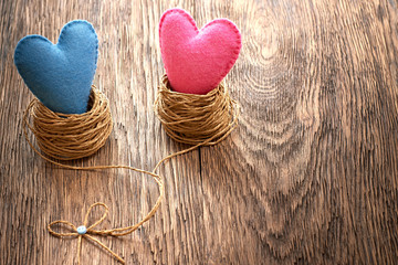 Valentines Day. Handmade Hearts Couple in nest. Love concept.