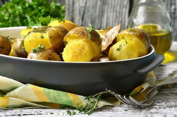 "Fried potato ''Mushrooms"" with thyme."