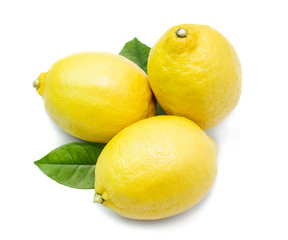Three ripe whole lemons