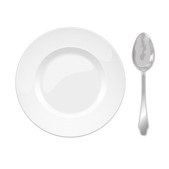 isolated china plate and steel spoon on a white background