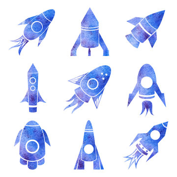 Vector watercolor rockets icons set