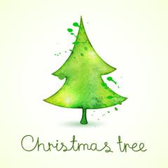 Christmas tree in watercolor trending style, vector cute