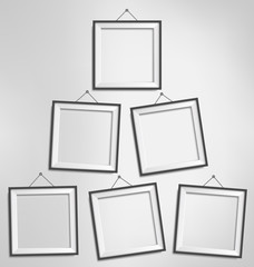 Six black modern blank frames isolated on grayscale background