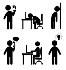 Set of business office situation flat icons isolated on white ba
