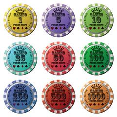 Poker chips set isolated white background