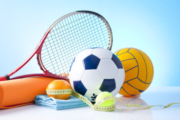 sport equipment and fitness food