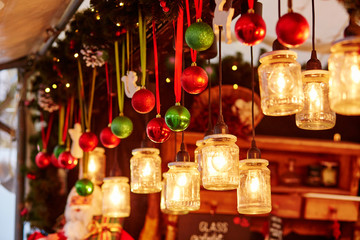 Decorations on a Parisian Christmas market Fotomurales
