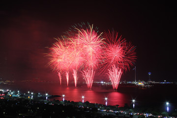 Red coastal firework display