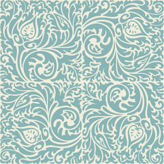 Blue and beige baroque pattern