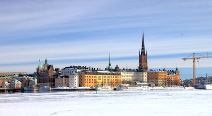 A view of Stockholm's gamla stan in winter time.