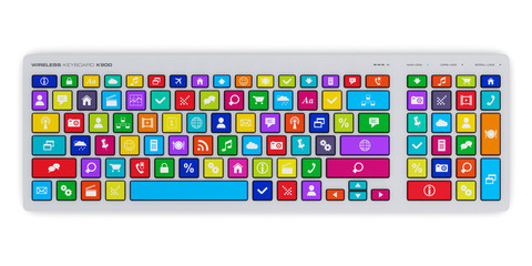 Computer keyboard with color social media keys