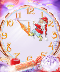 Christmas fabulous background with dwarf and big clock