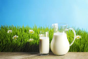 Milk jug and glass on grass