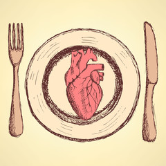Sketch human heart on the plate in vintage style