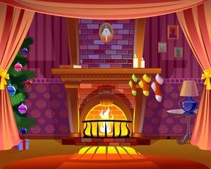 Fireplace. Christmas card