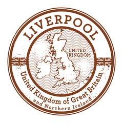 Grunge rubber stamp with words United Kingdom, Liverpool