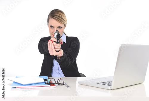 """businesswoman Pointing Gun Bossy And Killer Employee"