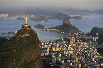 Aerial view of Christ, Sugarloaf, Guanabara Bay, Rio de Janeiro