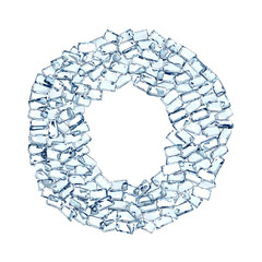 O lettera diamanti cristalli gemme 3d, sfondo bianco