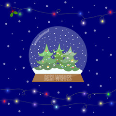 Bright illustration with glass bowl with snow and shining lights