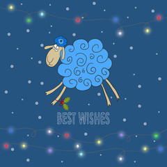 winter holiday background with hand-drawing best wishes and blue