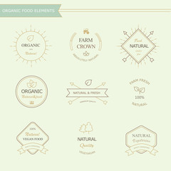 Set of badges and labels elements for organic food drink
