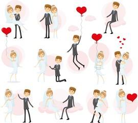 Набор свадебных фотографий, невесты и жениха в любви, вектор