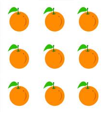Orange fruit with leaf .