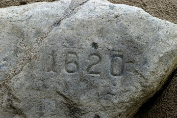 Plymouth Rock in Plymouth Bay, where the Pilgrims landed in 1620 Wall mural