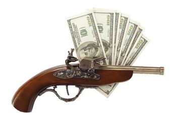 Old gun and hundred dollar bills