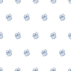 Vector hand drawn gift box seamless pattern